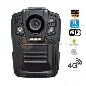 Nešiojamas vaizdo registratorius- Body worn kamera su IR LED+4G+WiFi+GPS